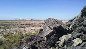 Obsidian Butte with Vulcan and Hoch Power Plants in the distance.